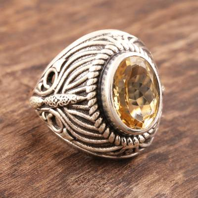 Citrine dome ring, 'Solar Flame' - Sterling Silver Domed Citrine Ring