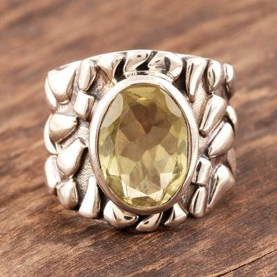 Men's sterling silver ring, 'Golden Clouds' - Men's jewellery Silver and Quartz Ring from India