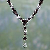 Garnet and quartz Y necklace, 'Crimson Dew' - Garnet and quartz Y necklace