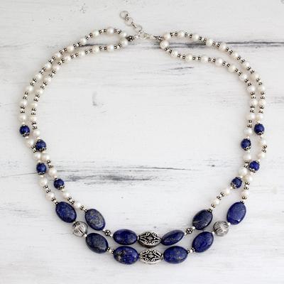 Pearl and lapis lazuli strand necklace, 'Delhi Princess' - Pearl and lapis lazuli strand necklace