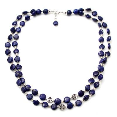 Lapis lazuli strand necklace, 'Midnight Breeze' - Lapis lazuli strand necklace