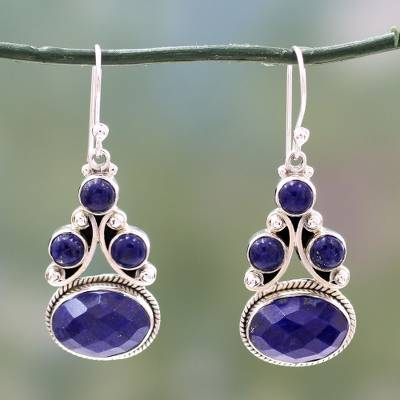 Lapis lazuli dangle earrings, 'Love Foretold' - Sterling Silver jewellery Lapis Lazuli Earrings