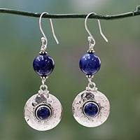 Lapis lazuli dangle earrings, 'Royal Moonlight' - Lapis lazuli dangle earrings
