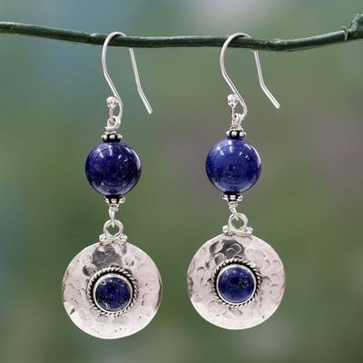Lapis lazuli dangle earrings, 'Royal Moonlight' - Lapis lazuli dangle earrings