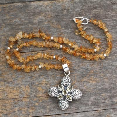 Citrine pendant necklace, 'Mughal Cross' - Silver and Citrine Pendant Necklace