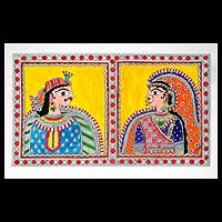 Madhubani painting, 'Indian Couple' - Madhubani Folk Art Painting