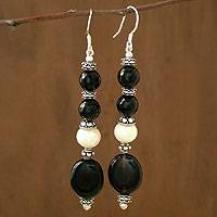 Pearl and onyx dangle earrings, 'Extravaganza'