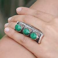 Malachite 3 stone ring, 'Princess Trio' - Artisan Crafted Sterling Silver and Malachite Ring