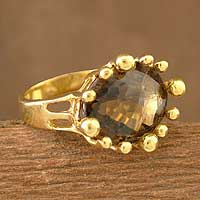 Gold vermeil smoky quartz solitaire ring, 'Coronation' - Vermeil and Smoky Quartz Ring from India