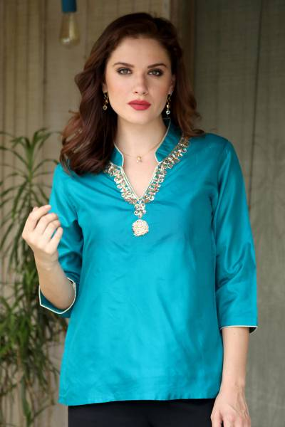 Silk tunic, 'Royal Touch' - Silk tunic