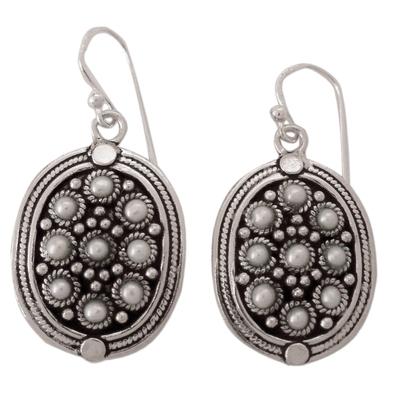 Pearl dangle earrings, 'Daisy Shields' - Pearl dangle earrings