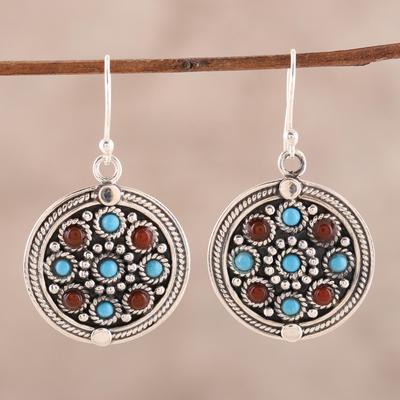 Turquoise and carnelian dangle earrings, 'Bright Berries' - Turquoise and carnelian dangle earrings