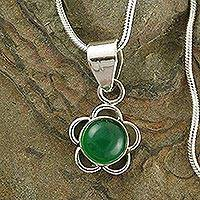 Onyx flower pendant necklace, 'Discretion' - Green Onyx and Sterling Silver Flower Necklace