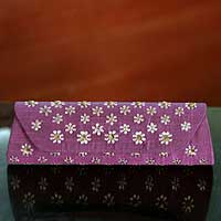 Silk clutch bag, 'Violet Fields' - Silk clutch bag