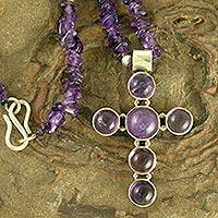 Amethyst cross necklace, 'Spiritual' - Amethyst cross necklace