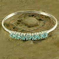 Blue topaz bangle bracelet, 'Sparkling Blue'