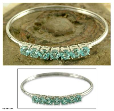 Blue topaz bangle bracelet, 'Sparkling Blue' - Blue topaz bangle bracelet