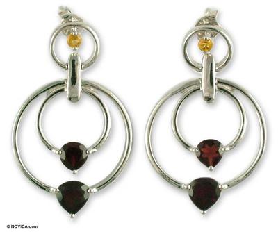 Garnet and Citrine on Sterling Silver Post Earrings