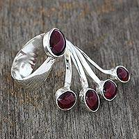 Garnet wrap ring, 'Wings' - 5 Stone Garnet Wrap Wring