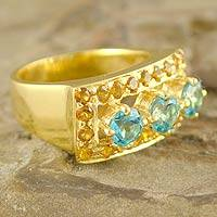 Gold vermeil citrine and topaz cocktail ring, 'Magic Blue' - Gold vermeil citrine and topaz cocktail ring