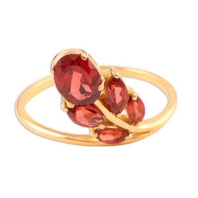 Artisan Crafted Floral Vermeil Multi-stone Garnet Ring