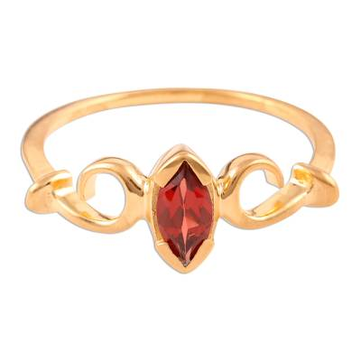Vermeil Solitaire Garnet Ring India Jewelry
