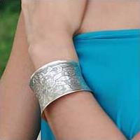 Sterling silver cuff bracelet, 'Autumn Bouquet' - Floral Sterling Silver Cuff Bracelet