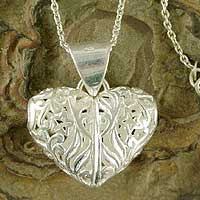 Sterling silver heart necklace, 'Star Forest' - Openwork Heart Jewelry Necklace in Sterling Silver