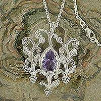 Amethyst pendant necklace, 'Forest Charmer' - Amethyst pendant necklace