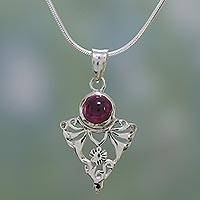 Garnet pendant necklace, 'Crimson Fern' - Sterling Silver and Garnet Artisan Crafted Necklace