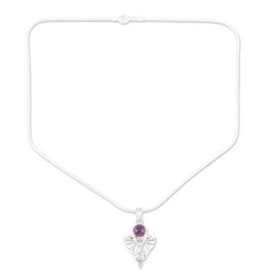 Amethyst and Silver Pendant Necklace