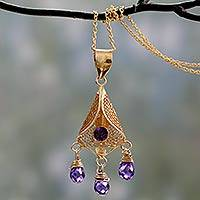 Gold vermeil amethyst pendant necklace, 'Aurora' - Gold vermeil amethyst pendant necklace