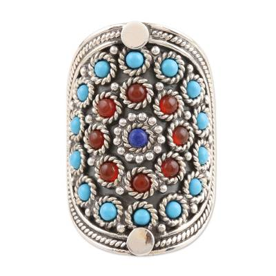 Lapis and carnelian cocktail ring, 'Mandala' - Handmade Sterling Silver Cocktail Ring with Gemstones