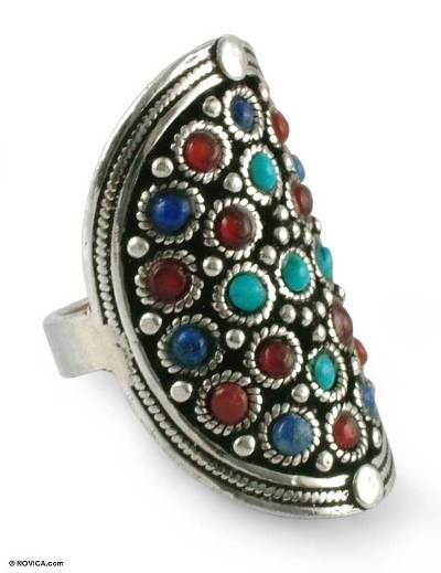 Lapis and carnelian cocktail ring, 'Guardian' - Lapis Lazuli and Carnelian Sterling Silver Cocktail Ring