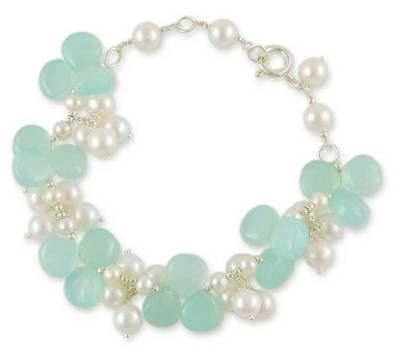 Pearl and Chalcedony Bracelet Indian Artisan Jewelry