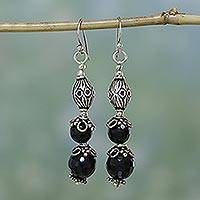 Onyx dangle earrings, 'Petals' - India Jewelry Sterling Silver and Onyx Earrings