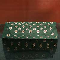Silk clutch bag, 'Emerald Fields' - Indian Floral Silk Evening Bag