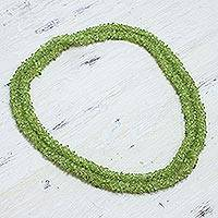 Peridot long necklace, 'Tropical Summer' - Peridot Necklace Handcrafted Beaded Jewelry from India
