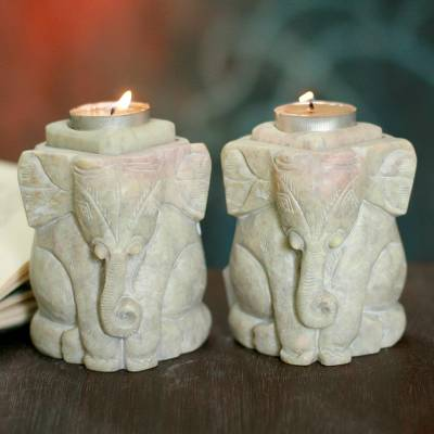 Soapstone candleholders, 'Baby Elephants' (pair) - Natural Soapstone Hand Carved Candle Holders (Pair)