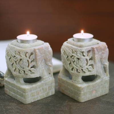 Soapstone candleholders, Floral Elephants (pair)