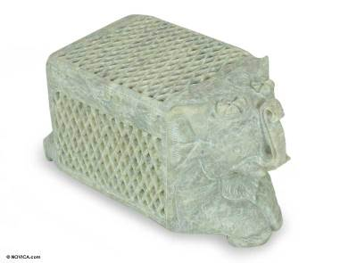 Soapstone box, 'White Elephant Treasure' - Hand Carved Soapstone Jewelry Box