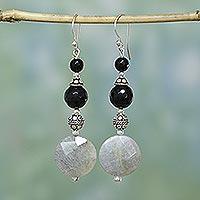 Onyx and labradorite dangle earrings, 'Equilibrium' - Onyx and labradorite dangle earrings
