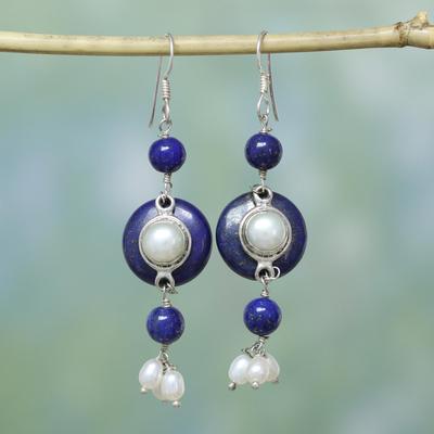 Pearl and lapis lazuli dangle earrings, 'Universe' - Pearl and lapis lazuli dangle earrings