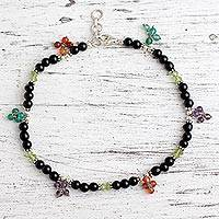 Onyx and carnelian anklet, 'Sweet Berries' - Onyx and carnelian anklet