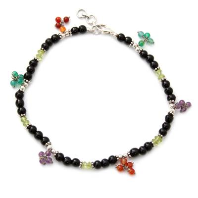 Onyx and carnelian anklet