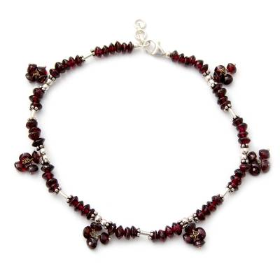 Unique Burgundy Garnet Sterling Silver Beaded Anklet