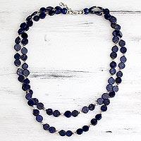 Lapis lazuli strand necklace, 'Blue Universe' - Lapis lazuli strand necklace