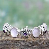 Rose quartz and amethyst link bracelet, 'Mystic Charmer' - Fair Trade Sterling Silver and Rose Quartz Bracelet