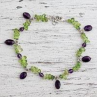 Peridot and amethyst anklet,