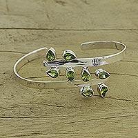 Peridot cuff bracelet, 'Forest Fern'